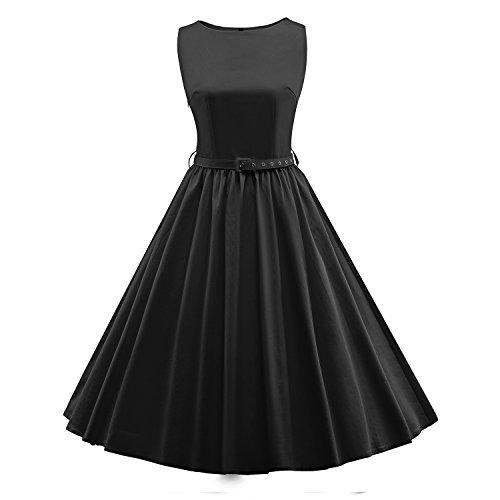 LUOUSE 'Audrey' Hepburn Stil Vintage Clarity Kleid im 50er-Jahre-Stil,Black,XL (Vintage-kleidung Jahre 60er)