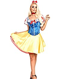 Women's Ladies Gorgeous Snow White Princess Skater Fancy Dress