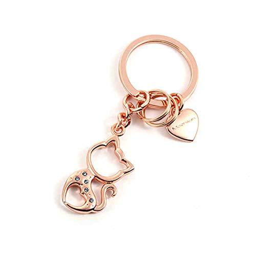 SLH Katze-Nette Keychain-Auto-Schlüsselanhänger-Karikatur-Schlüsselkette-weiblicher kreativer Schlüsselring (Color : Rose golden)