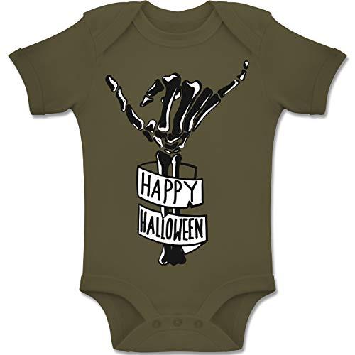 Shirtracer Anlässe Baby - Happy Halloween Skelett Hand - 12-18 Monate - Olivgrün - BZ10 - Baby Body Kurzarm Jungen Mädchen (Witze Happy Halloween)