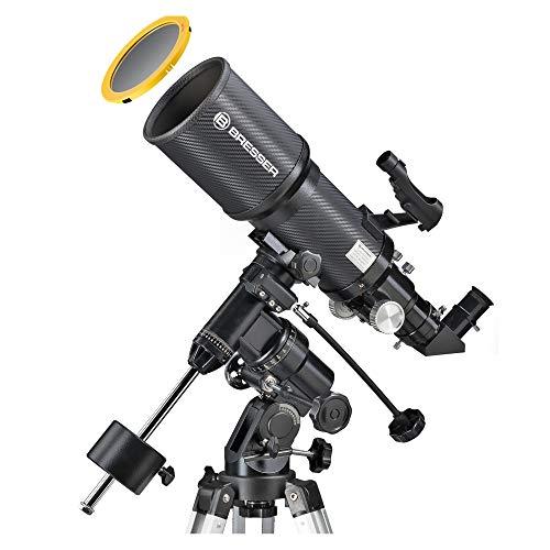 Bresser Teleskop Polaris 102/460 EQ3 für Nacht und Sonne mit hochwertigem Objektiv Sonnenfilter zur gefahrlosen Beobachtung der Sonne im Weisslicht -