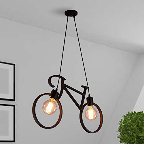 Yadav Decor Vintage Edison Tungsten Decorative Filament E27 Holder ,Cycle Shape Ceiling Lamp With St 64 Filament Bulb (Black)