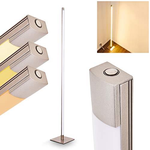 LED Stehleuchte Playa – Moderne Stehlampe aus Metall in Nickel matt mit geradem Lampenschirm – Bodenlampe im außergewöhnlichen Design– 3000 Kelvin – 800 Lumen – mit Touchdimmer am Gehäuse