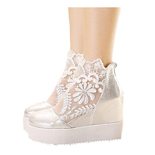 Partiss Damen Sweet Lolita Casual Schuhen Braut Lace Lolita Pumps Herbst Fruehling Cosplay Plateauschuhe High-Heel Shoes Spring Shoes Hochzeit Wedge Platform Pumps Silbrig