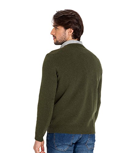 WoolOvers Pull à col V - Homme - Laine d'agneau Moss Green