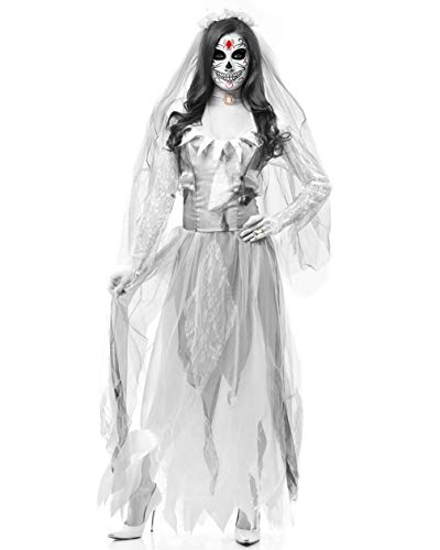 Fortuning's jds donne horror halloween fantasma sposa vestito collane velo costume da vampiro (3pcs)