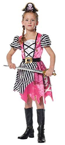 Karneval-Klamotten Piraten-Kostüm Piratin Kinder Mädchen Piratenbraut Kinderkostüm pink mit Haarreif Piratenhut Kind Karneval Größe 116