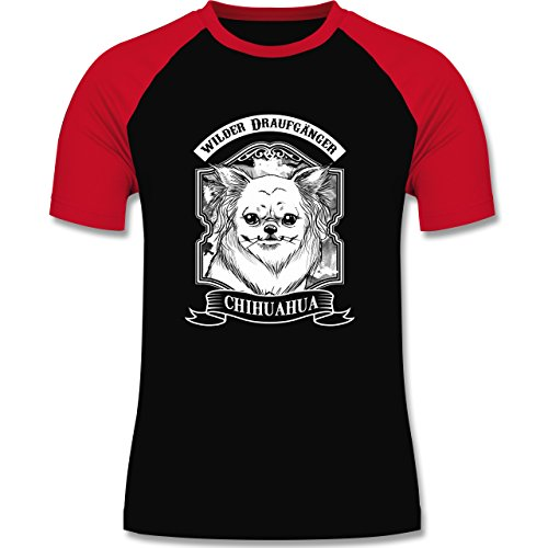 Hunde - Chihuahua - wilder Draufgänger - zweifarbiges Baseballshirt für Männer Schwarz/Rot