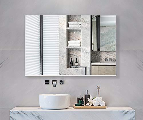 Hans&Alice Spiegel mit ovalem Antik-Spiegel, Metallrahmen, für Badezimmer, Schlafzimmer und Wohnzimmer, gewerbliche Qualität 90 + (61 x 81,3 cm) 32\'\' x 24\'\' White Frame schwarz