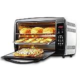 JCOCO Mini forno da cucina da 30 litri con impostazione della temperatura 0-250°C e 0-90min Timer 1500W Forno multifunzione porta in vetro a tre strati