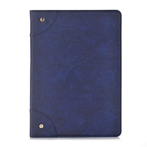 Flip Cuir Coque pour IPad Air(iPad 5) Tablette Coque,Vandot Ultra Slim Léger Smart Cover IPad Air(iPad 5) Cuir Case avec Support et fermeture magnétique et Carte Slots Housse Etui + IPhones et Android Rétro - Bleu Foncé