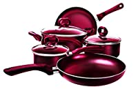 Ecolution 8-Piece Non-Stick Cookware Set, Features Silicone Handles & Tempered Glass, Steam Vented Lids, Red