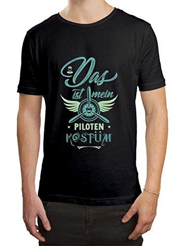 Verkleidung Pilot Premium T-Shirt   Kostüm   Karneval   Fasching   Herren   Shirt, Farbe:Schwarz (Deep Black ()
