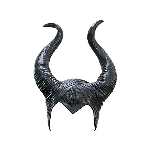 PIKOVIC Halloween Kostüm Maleficent Kopfschmuck Latex Hörner Mottoparty Kostümparty Böse Königin Damen Cosplay