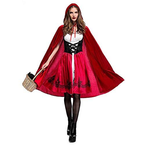 OwlFay Damen Rotkäppchen Kostüm mit Umhang Erwachsene Karneval Rollenspiel Faschingskostüme Halloween Party Kleider XL