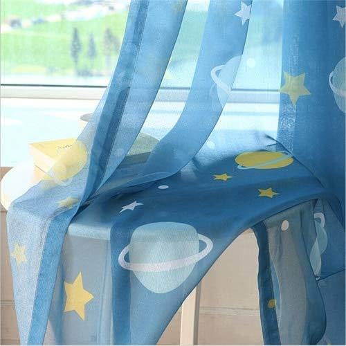 Qzxcd curtainblue planet star wars cartoon ombra tende per neonato camera da letto per bambini soggiorno tenda per finestra decorazioni per la casa cortina 1 pz 1 pz w100 x h260cm tulle trasparente