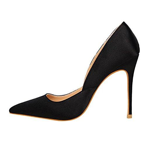 MERUMOTE Damen Y-194 Spitze Pumps Elegante Seide Stilettos Hochzeit Party Office Schuhe Schwarz