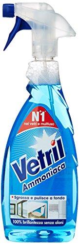 Vetril - Ammoniaca, Detersivo per vetri e multiuoso senza aloni - 3 pezzi da 650 ml [1950 ml]