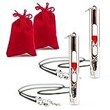 Lantelme 2 Stück Set 15 Sekunden Pulsmesser Sanduhr Set mit rotem Sand inklusive Samtbeutel und Leder Halsband 5969