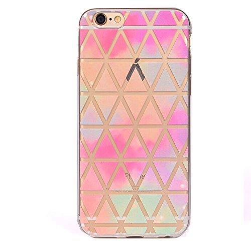 iPhone 6 Crystal Case Durchsichtig TPU bunte Sterne Hülle – Case Optik Schutzhülle Abstrakt Transparent Muster Design – MOVOJA – Sterne-bunt Dreieck Retro