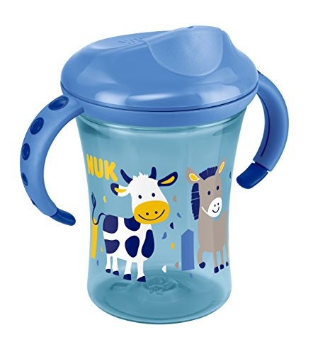 NUK 10255363 Easy Learning Trainer Cup, auslaufsicherer Trinkaufsatz, 230 ml, ab 8 Monate, Boy, blau