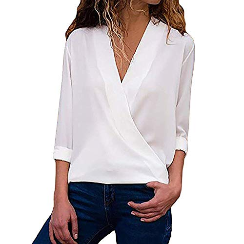 Camisas para Mujer, Moda Camiseta Sólida Mujer Gasa Blusas de Oficina de Manga Larga Lisa de Mujer...