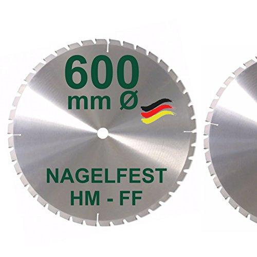 HM Sägeblatt 600 x 35 mm NAGELFEST FF Hartmetall FSP Kreissägeblatt 600mm für Bauholz Brennholz Schalholz Leimholz zum Sägen mit Wippsäge Tischkreissäge Kreissäge Kappsäge Brennholzsäge Tischsäge