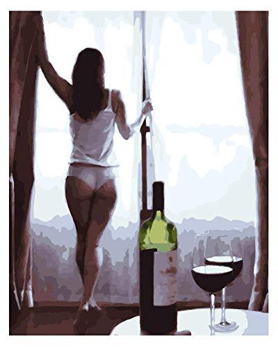 Malen nach Zahlen Mit Pinsel Für Erwachsene Auf Leinwand Fenster Halb Nackte Mädchen Rotwein DIY Kit Acrylbild-gerahmt 40X50Cm