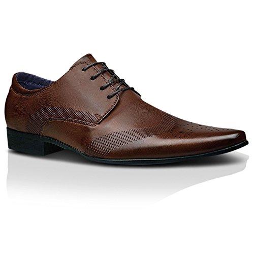 Alla moda, da uomo nuovo in pelle nera scarpe formali abito elegante taglia uk 6 7 8 9 10 11 - marrone cioccolato, 44 eu