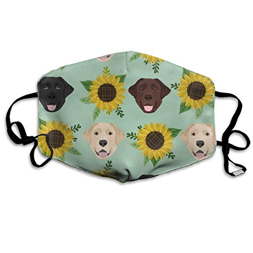 liulishuan Labrador Floral Sunflower Dog Anti Pollution Maske with Filters Dust Maske Filtration Exhaust Gas Anti Pollen Allergy PM2.5 Air Filter Maske for Outdoor Activities Multicolor7