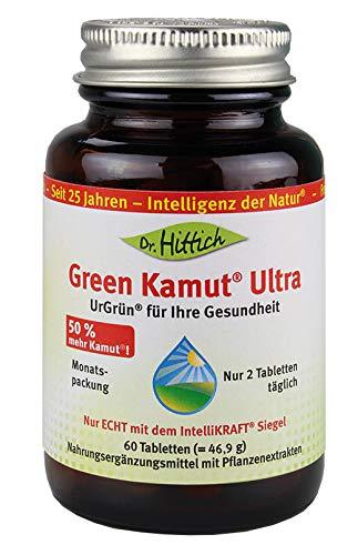 Green Kamut® Ultra - 60 Kamut Tabletten mit Weizengrassaft Pulver aus jungen Weizengras-Blättern, Alfalfa und Fructan aus der Zichorie - Von Dr. Hittich - Dr. Weizengras