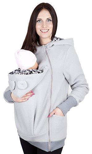 Mija - Maternité chaude Sweet ? capuche / Pull pour deux / Pour porter les bébés 4019A Clair Gris