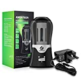 AMERTEER Electric Pencil Sharpener – DC Powered Durable Blade Large Receptacle,Perfect for School,Office,Home - Black