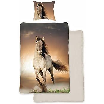 Herding 465749050 Pferde Bettwäsche, 80 x 80 cm + 135 x