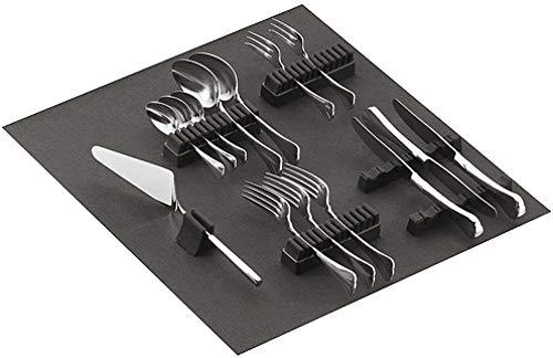 Gedotec Besteckhalter-Sortiment Besteckeinsatz selbstklebend mit Filzauflage | für 70-teiliges Besteck | Filz ist SCHWARZ | Besteckeinlage für Schubladen & Schubkasten | 1 Stück - Besteck-Halter Filz