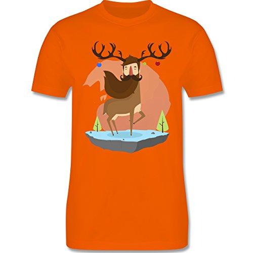 Weihnachten & Silvester - Hipster Hirsch Christbaumschmuck - Herren Premium T-Shirt Orange