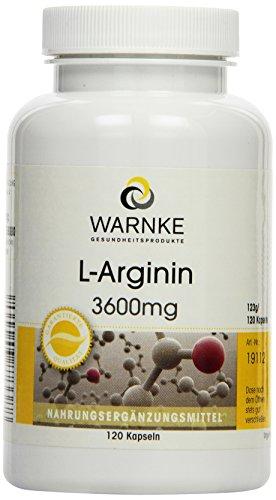 Warnke Gesundheitsprodukte L-Arginin 3600 mg, 120 Kapseln, vegi, 1er Pack (1 x 123 g)