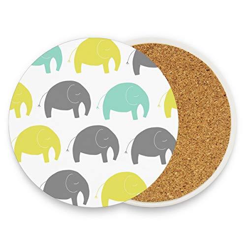 MONTOJ - Posavasos absorbentes para bebidas, diseño de elefantes, madera, 1, 4...