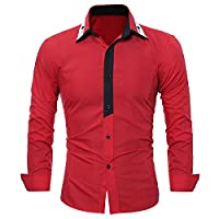 Tootlessly Men's New Long Sleeve Color Splice Silm Fit Cozy Work Shirt Red Large