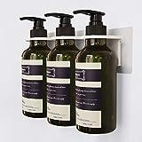 Frylr Dispenser per Sapone e Doccia 3 contenitori di plastica | Pompe à shampoing liquide, Bastone Senza Foratura | Colore Verde Scuro