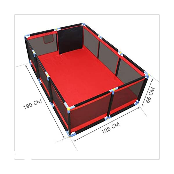 Red Playpen - Large Twins Security Fence, Portable Baby Playard for Learn to Walk (Size : Playpen+mat+100ball) Playpens  2
