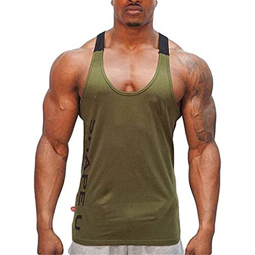 Crazboy Ärmelloses Männer-Tanktop Bodybuilding Sport Fitness Weste(X-Large,Armeegrün)
