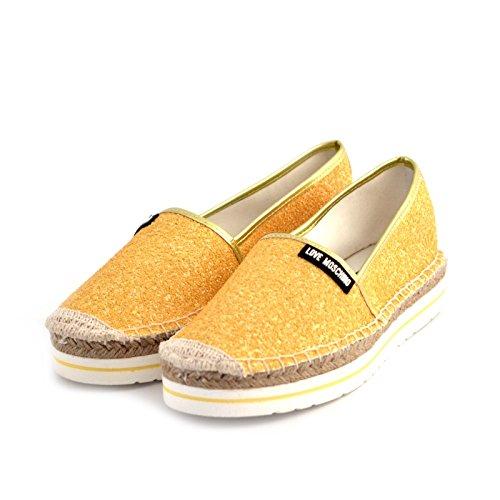 espadrillas donna Love Moschino JA10113 tessuto glitterato giallo gomma e rafia 41