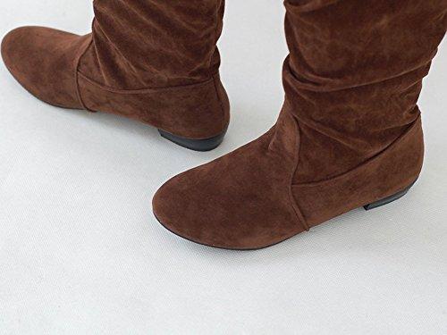 Minetom Donna Autunno Inverno Scarpe col Tacco Piatto Moda Faux Stivali Lungo Neve Stivali Giallo
