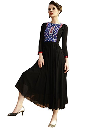 KVSFAB Women's Black Georgette Readymade Embroiderd Western Kurti[KVSKR5108ART_2_XL]