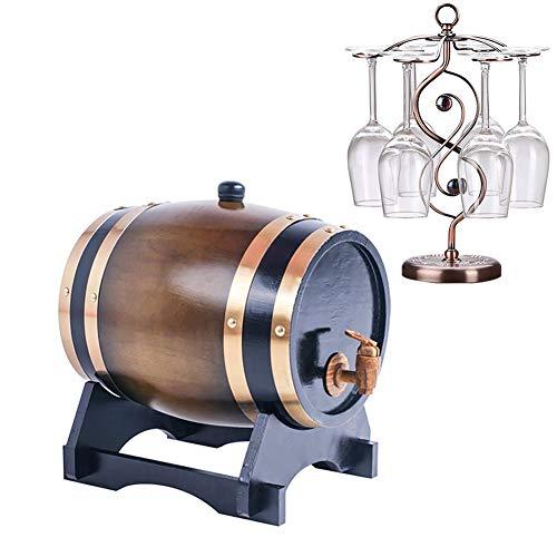 El vino se puede conservar durante mucho tiempo con este barril, que se utiliza para almacenar vinos finos, brandy, whisky, tequila, etc .; Las propiedades curativas del roble promueven la salud y la longevidad; No agites el barril de vino!Caracteris...