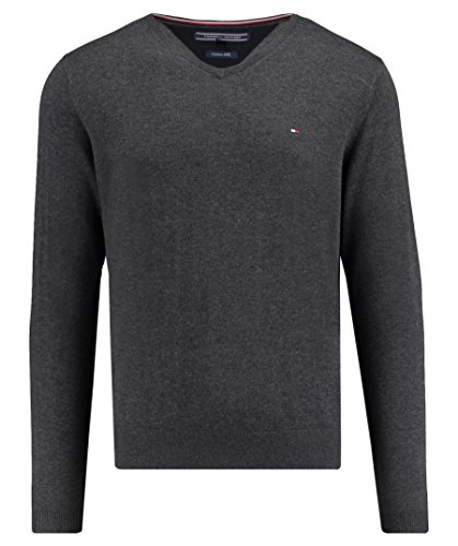 Tommy Hilfiger Herren Pullover Core Cotton-Silk Vneck Anthrazit