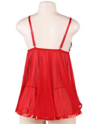 XuBa Plus Size Sexy Sleep Wear for Women Deep V Lingerie Translucent Lace Dress Red 3XL