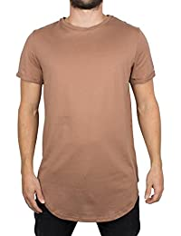 Sixth June Homme T-Shirt Curved Hem Zip, Marron