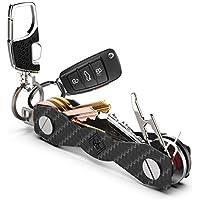 Schlüsselorganizer Carbon Kompakt - Premium-Hochleistungs Schlüsselbund-Organizer bis 28 Schlüssel -B0NUS- Schlüsselanhänger mit Schlaufenteil für Gürtel & Autoschlüssel - SIM & Flaschenöffner